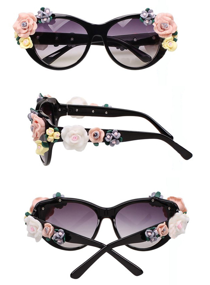 Cute Round Sunglasses with Flower [gl00075] - PersunMall.com