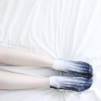 underwear white socks bones socks halloween x-ray skeleton retro cool vintage beautiful black and white grunge goth hipster soft grunge xray squeleton squelette white black x-ray design x ray tights bas pale