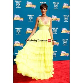 Rihanna Yellow Chiffon Tiered Evening Prom Gown Celebrity Dresses For Sale BET Awards 2008