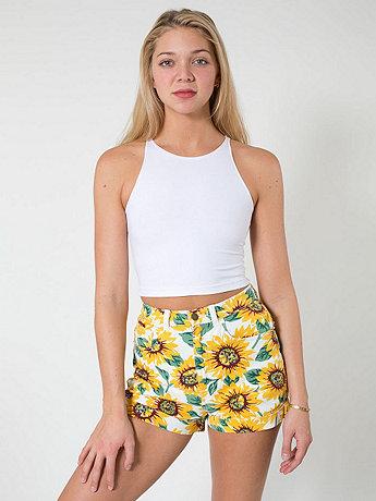 Sunflower Print Stretch Bull Denim High-Waist Cuff Short | American Apparel