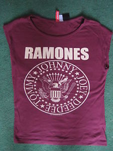 Divided H&M Ramones Cropped T-shirt Top Red Burgundy Size 6 8 S Punk Goth Band | eBay