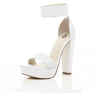 River Island White chunky platform barely there sandals - ShopStyle