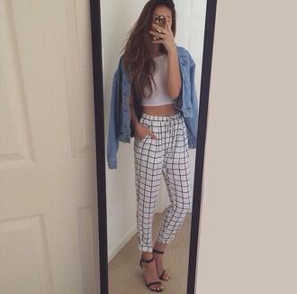 jeans pants shirt jacket denim checkered black and white black white outfit tumblr heels black shoes shoes joggers elastic comfy plaid crop tops
