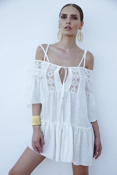 Chio di Stefania D Off The Shoulder Linen Cover Up - Lilylola