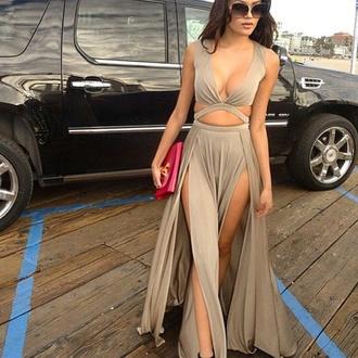 dress maxi dress double slit maxi dress birthday dress beige sexy dress showing legs boutiques shop long dress