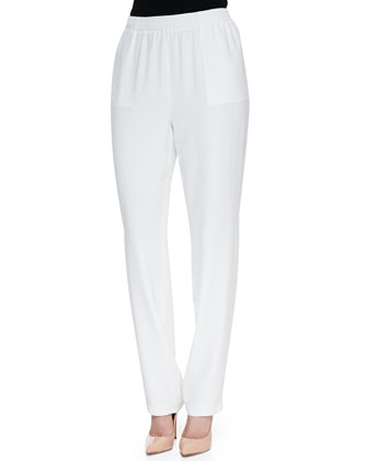 Neiman Marcus Relaxed-Fit Silk Pants, White