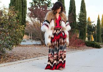 madame rosa blogger folk maxi dress fur dress coat shoes