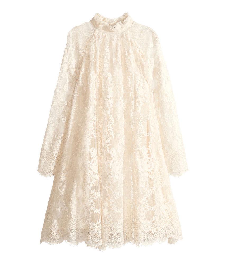 H M Conscious Exclusive Lace Dress Floral Off White Sz UK 12 US 8 EUR 38 | eBay