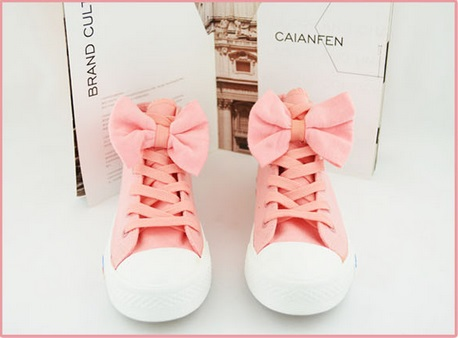 Bow Canvas Sneakers Pink from Stradivarius on Storenvy