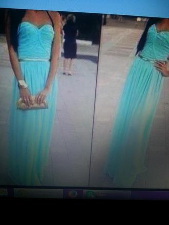 dress tiffany teal maxi dress gold strapless dress blue dress