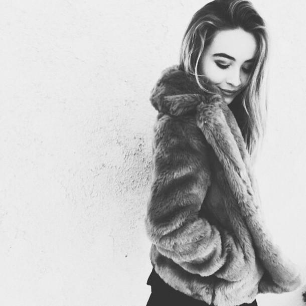 coat sabrina carpenter girl meets world fur coat faux fur coat