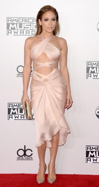 jennifer lopez silk nude dress