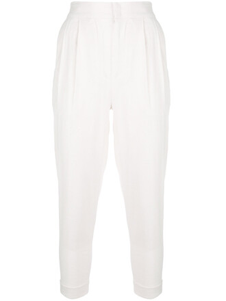 cropped women spandex white cotton silk pants