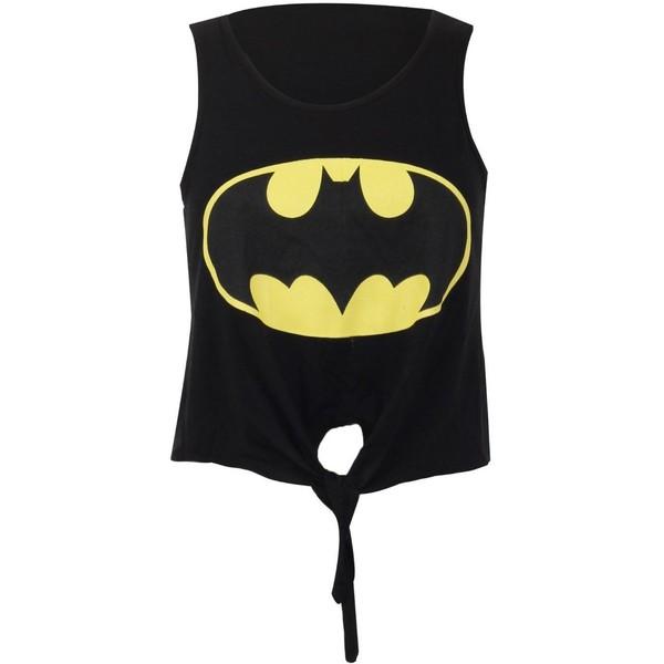 Crazy Girls Ladies Womens Batman Superman Print Tie Front Vi... - Polyvore