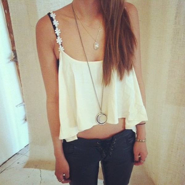 white crop tops crop tops moon necklace pendant summer top lace up sexy pants lace up pants