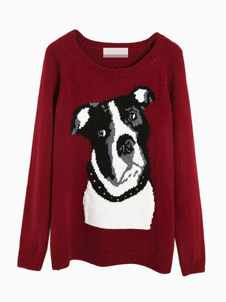 Red Jumper In Dog Pattern | Choies