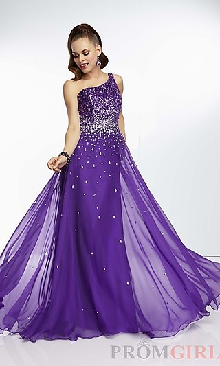 Prom Dresses, Celebrity Dresses, Sexy Evening Gowns - PromGirl: One Shoulder Floor Length Mori Lee Dress