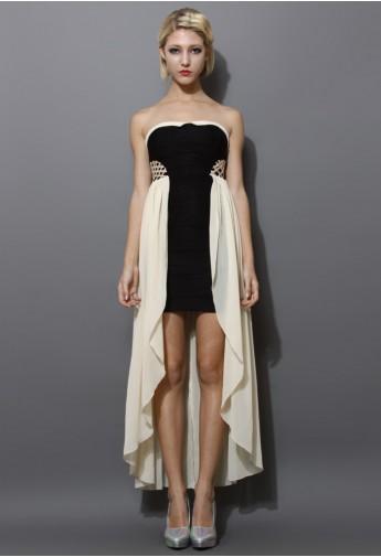 Chiffon Paneled Bustier Dress - Retro, Indie and Unique Fashion