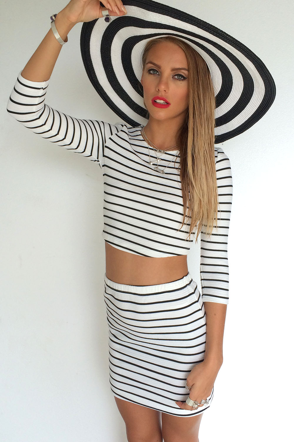 White Pencil/High Waist Skirt - Black and White Pin Stripe | UsTrendy