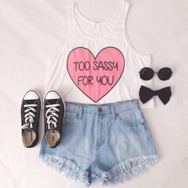 top t-shirt tank top sassy white shorts jeans sunglasses converse shoes black