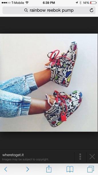 shoes rainbow reebok pumps
