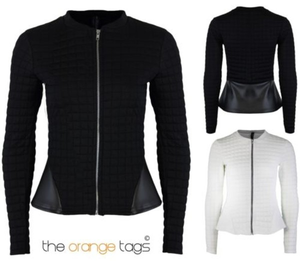 jacket ladies women long sleeves quilted zip blazer peplum black white chic pvc lovely futuristic