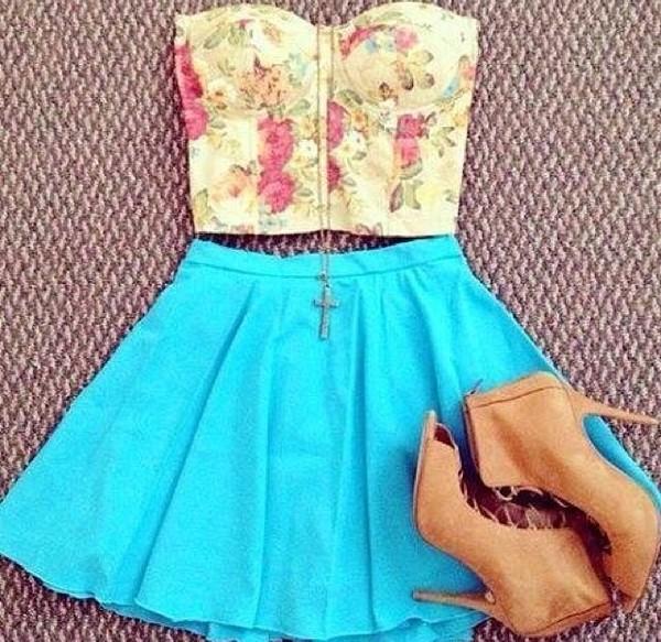 dress floral blue skirt tan heels jewels tank top top skirt shoes