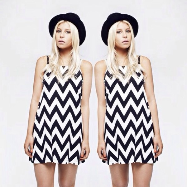 dress her pony vintage monochrome chevron print black and white