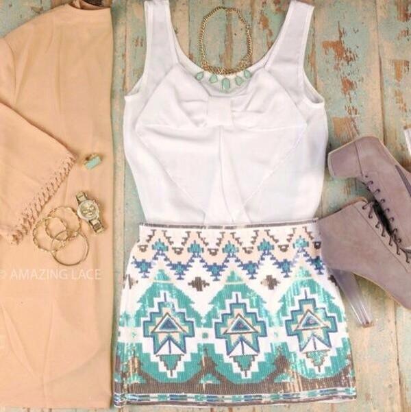 blouse white dress shoes skirt blue short aztec print aztec summer outfits summer cute classy gorgeous shirt