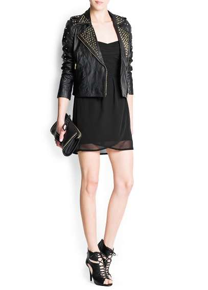 MANGO - NEW - Studded leather biker jacket