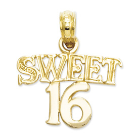 14k gold sweet 16 charms. Measures 5/8w x 11/16h, weighs 0.7g