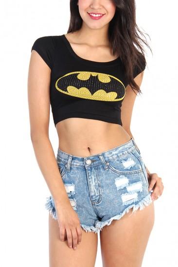 OMG Rhinestone Batman Crop Top - Black