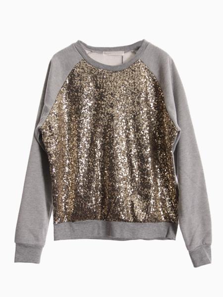 Sweatshirt With Sequin Front   Choies
