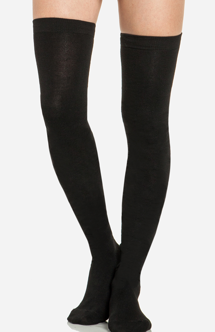 Basic Thigh High Socks in Black One Size | DAILYLOOK