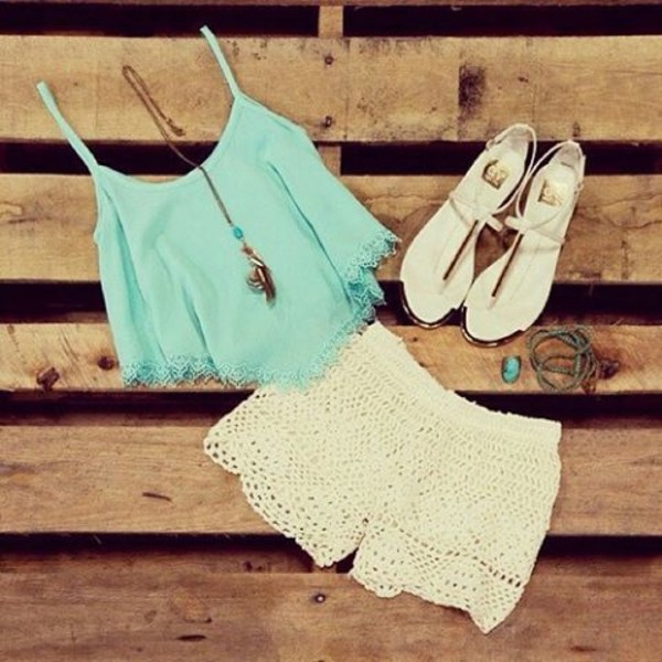 tank top crop tops top mint crochet crochet shorts mini shorts summer summer top summer shorts summer shoes sandals flat sandals white shorts necklace jewels summer outfits white shorts cream shorts