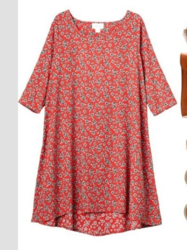 dress babydoll style cute red loose floral boho