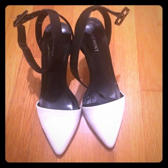 shoes pointy toe heels shoemint white and black heels