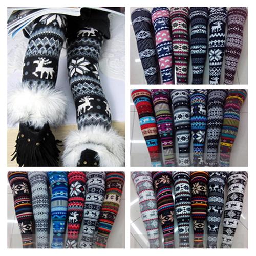 Hot Women's Nordic Deer Snowflake Knitted Leggings Tights Pants 21 Style 03 | eBay