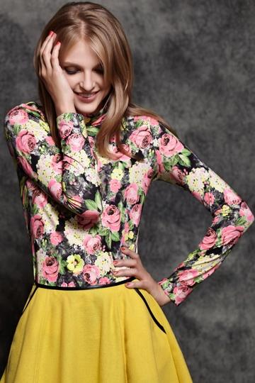 Vintage Flower Print Slim Fit Base Shirt [FPB612]- US$19.99 - PersunMall.com