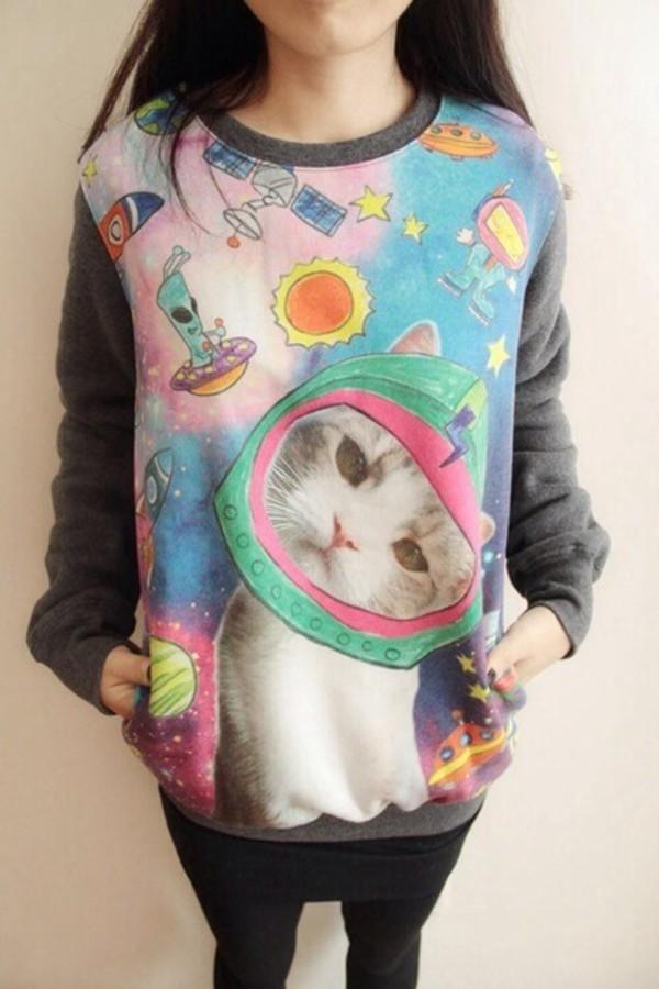 sweater cats leggings space cartoon