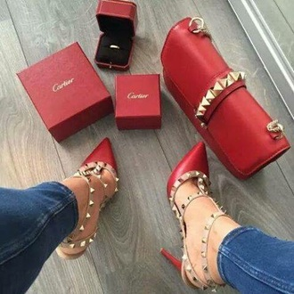 shoes red gold red heels valentino high heel sandals
