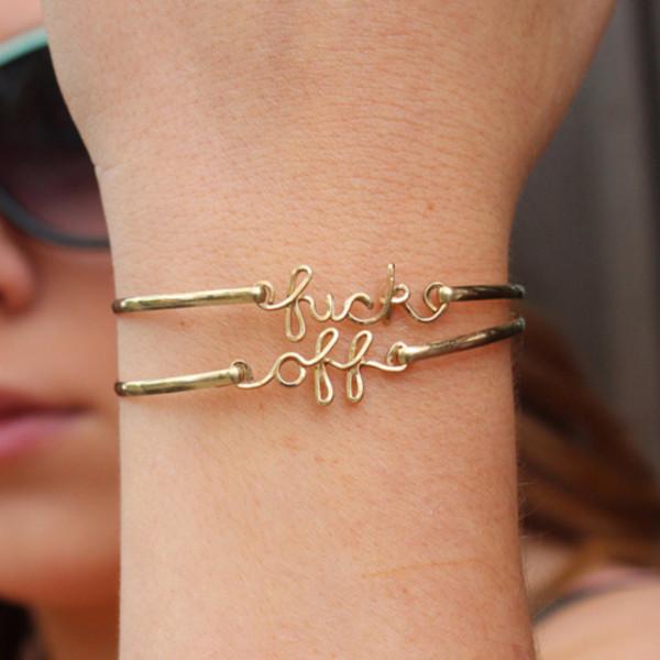 jewels gold bracelets fuck off