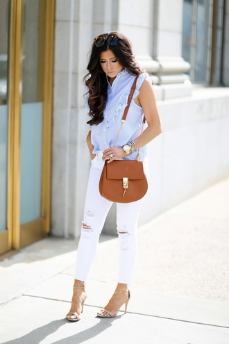 thesweetestthing blogger shoes bag jewels sunglasses button up shoulder bag brown bag white jeans ripped jeans nude heels sandals sandal heels ruffled top ruffle sleeveless shirt white ripped jeans high heel sandals nude sandals ruffle shirt