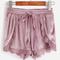 Purple lace trim drawstring waist velvet wrap shorts -shein(sheinside)