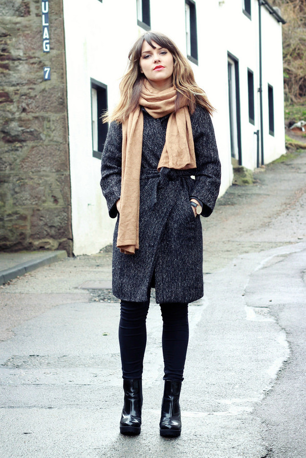 the little magpie coat sweater jeans shoes scarf