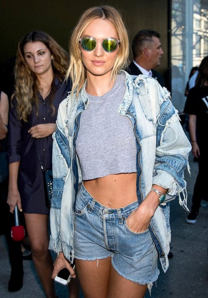 jacket denim jacket denim candice swanepoel victoria's secret model sunglasses top shorts
