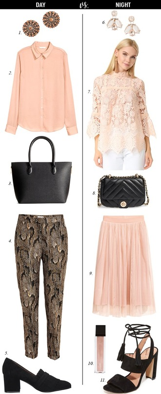 dailystylefinds blogger jewels blouse bag pants jacket shoes top skirt pink blouse pink top pumps black bag pink skirt