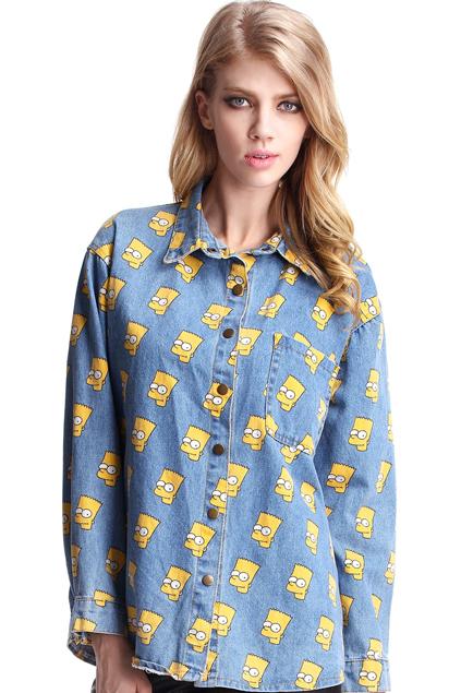 ROMWE | Simpson Light Blue Shirt, The Latest Street Fashion