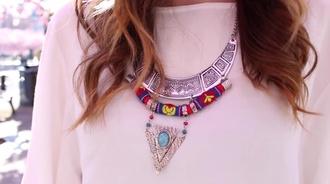 jewels necklace boho necklace boho bohemian hippie statement necklace turquoise rope white shirt silver hippy necklace hippie necklace bohemian necklace