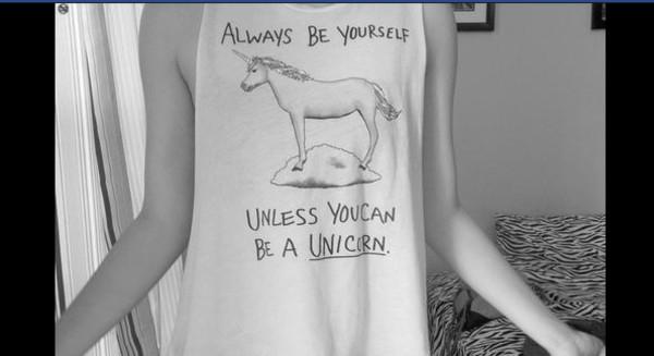 shirt t-shirt unicorn hipster yourself clouds rainbow